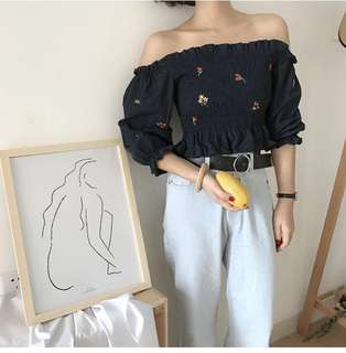 (PO) Korean Embroidery Off Shoulder Blouse