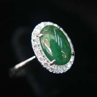 Type A Green Burmese jadeite ring in 18k white gold & natural diamonds 3.58g size US6