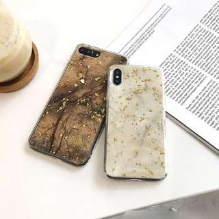 [PO] iPhone 6/7/8/Plus/X Marble Foil Flakes Silicone Case