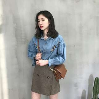 (PO) Korean Cowboy Embroidery Lantern Shirt