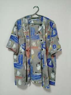 Vintage Oversized Button up Blouse with Abstract print