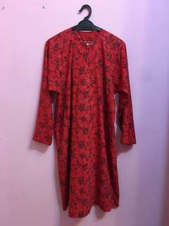 Black Flower Red Crepe Kurung