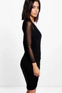 Boohoo ✨ Kim Sheer Mesh Rouched Black Bodycon Dress