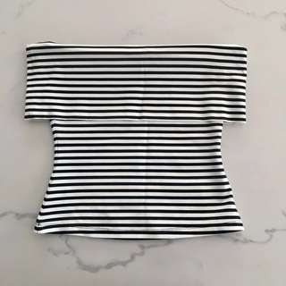 Witchery Striped Exposed Shoulder Top