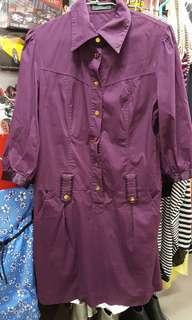 🚚 紫色短洋裝