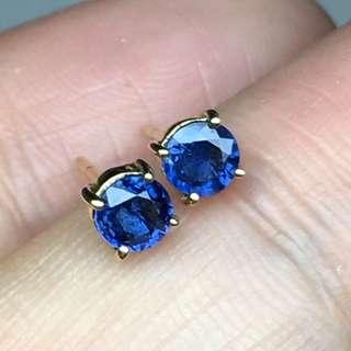 4mm Natural blue sapphire earring