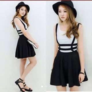 [BN] Black Caged Suspender Skirt