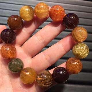 16.2mm Natural copper hair crystal bracelet.