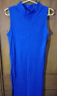 blue dress with slit both sides