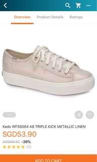 KEDS triple kick metallic linen shoes