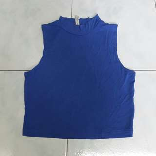COTTON ON mock neck blue crop top