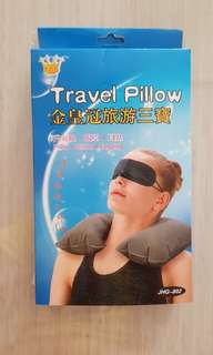 Brand new Inflatable Travel Pillow + eyeshade + earplug