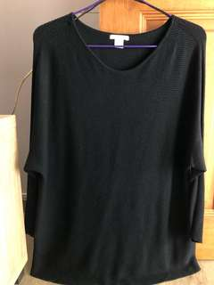 Plus size navy blue long sleeve top