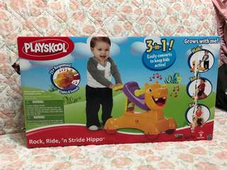 Playskool 3 in 1 rock, ride and stride hippo