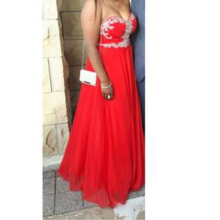 Red sweetheart jewled prom dress