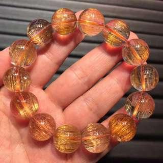 15mm Natural copper hair crystal bracelet.