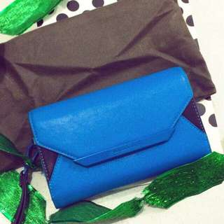 Charles and Keith - Vintage Front Flap Basic Wallet (Blue)