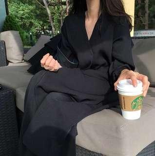 Oversized Black Midi Dress