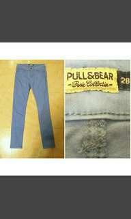 PULL&BEAR牌子原宿復古英倫風紫藍色顯瘦牛仔高腰長褲