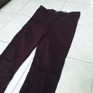 Maroon/dark purple ripped jeans