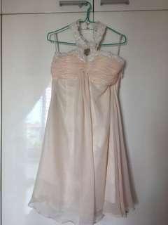 Halter neck bridesmaid dress (Light Peach)