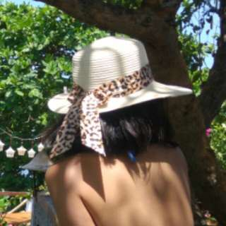 Summer Hat with Animal Print Lining