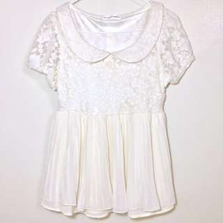 Lace And Chiffon Top With Collar