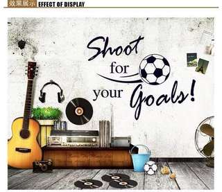 80X60cm Shoot For Your Goals Creative Quote Wall Stickers