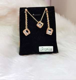Swarovski elements crystal cube necklace earring set