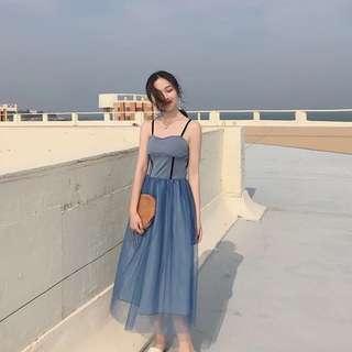 韓國復古風性感百搭小吊帶拼接網紗連衣裙