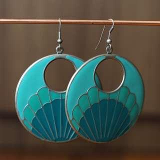 Mermaid Turquoise and Teal Circle Earrings
