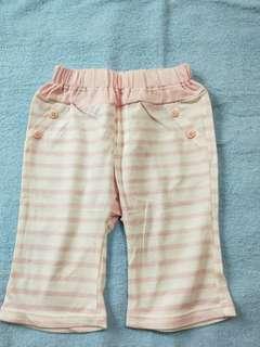 全新 Lativ Baby全棉 長褲90cm 粉藍底白條 100%Cotton