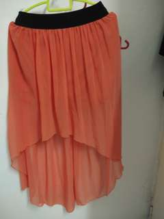 Orange fishtail skirt