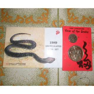 1989 Singapore Lunar Year of Snake Uncirculated Coin
