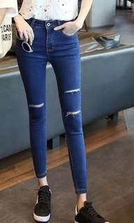 Blue Denim Slit Jeans