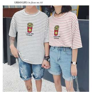 # Korea Red Stripes Fries Tee