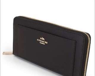 Coach crossgrain leather accordion wallet (black)