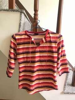 🚚 條紋渲染彩虹七分袖上衣(可換物)