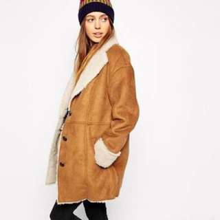 ASOS suede shearling 70's style coat