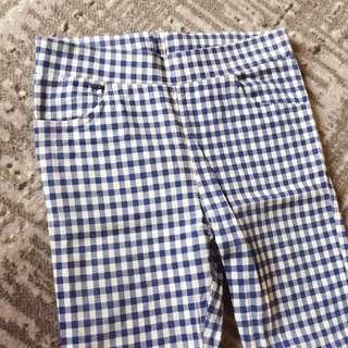 🚚 藍白經典格紋彈性修身長褲/S
