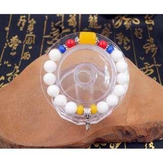 全天然 硨磲貝手珠+藏銀及塑料配飾 佛教 宗教 佛教七寶(白硨磲)