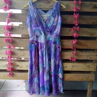 Purple Floral Dress with Free Inner Lace Wear