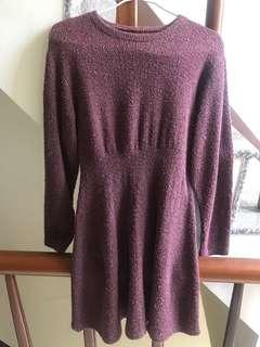 🚚 酒紅色毛毛洋裝(可換物)