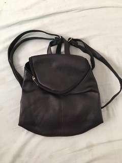 Black leather back pack bag