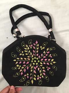 Hand embroidered purse bag