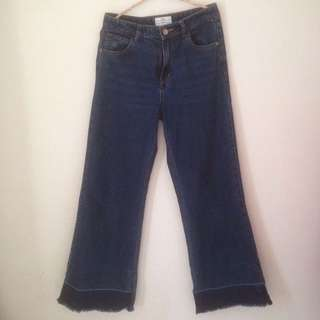 Undone Hem Wide Leg Jeans Pomelo Fashion Size M
