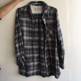 🚚 無印良品 muji 女有機棉法蘭絨格紋長版襯衫灰色M