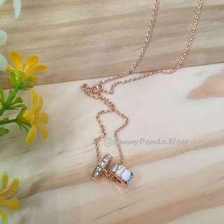 購自韓國 - 羅馬數字圓環14吋頸鏈(玫瑰金色)