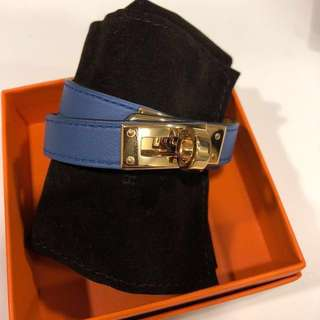 Hermes Kelly Double Tour Blue Rose Gold size M