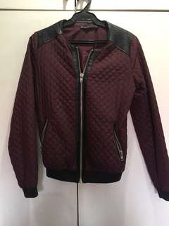 Stradivarius Maroon Bomber Jacket with Black Faux Leather Detail